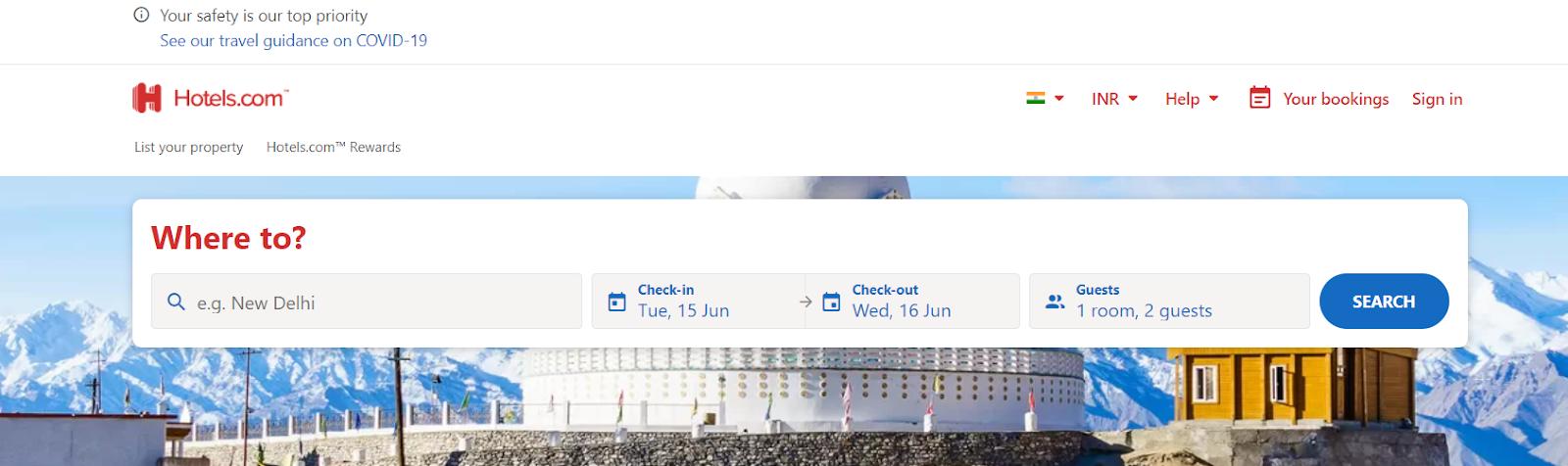 Screenshot of Hotels.com - Travel Search Engine