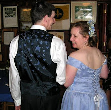 Photo: hand stamped vest, and hand made/hand stamped dress!