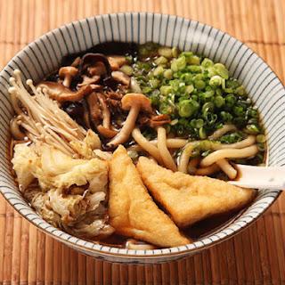 Japanese Udon With Mushroom-Soy Broth, Stir-Fried Mushrooms, and Cabbage (Vegan).