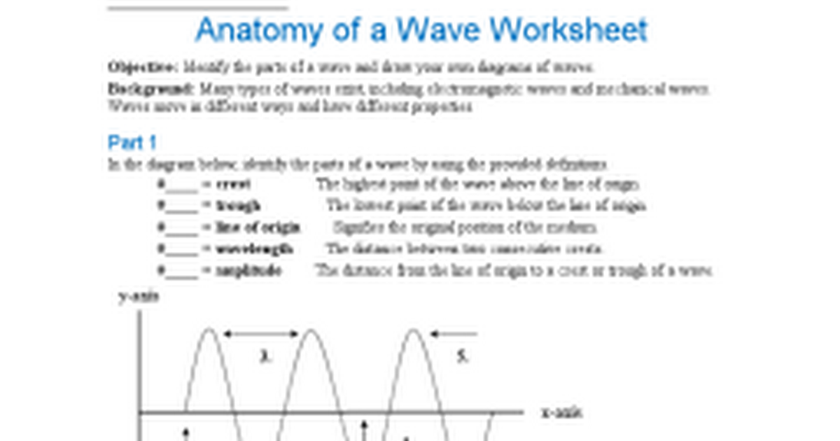Anatomy Of Waves Worksheet - Anatomy Drawing Diagram
