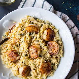 Pan Seared Scallops with Orzo Piccata.
