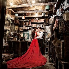 retro by Wee Heong - Wedding Bride & Groom ( red, wedding, retro, gown, malaysia )