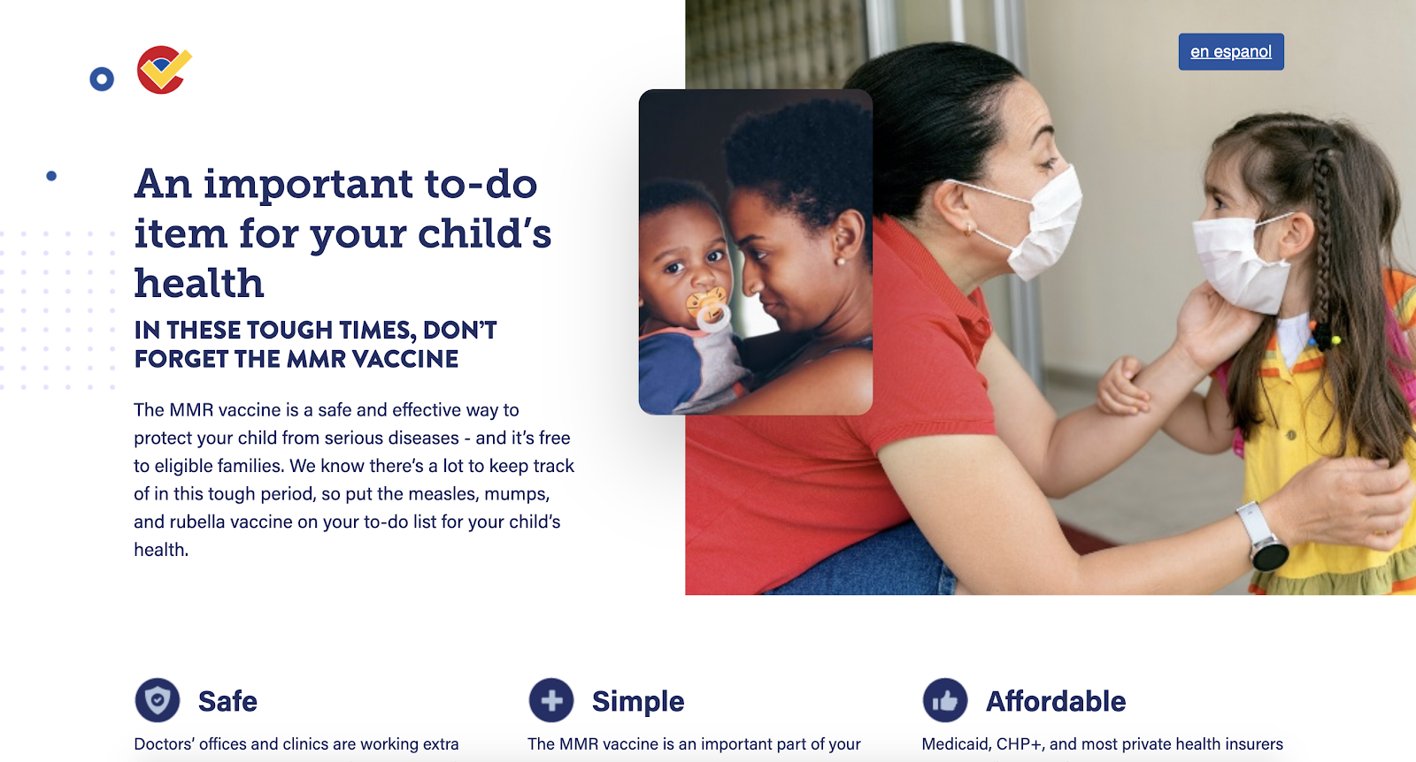 English version of the MMR vaccine website