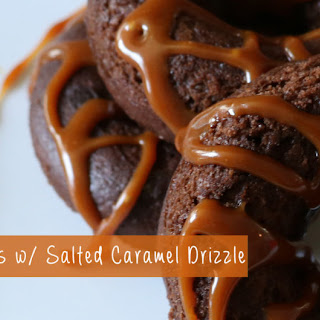 Chocolate Chip Donuts with Salted Caramel Drizzle