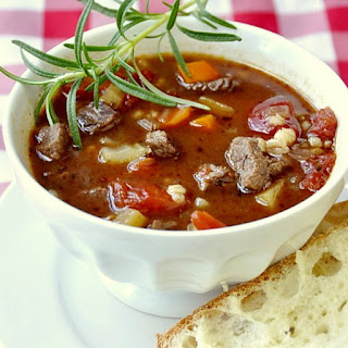 Easy Beef Barley and Tomato Soup.