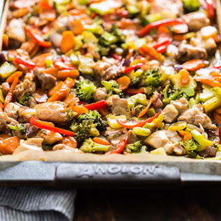 Honey Garlic Chicken and Veggie Sheet Pan Stir Fry.
