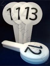 Photo: Оценочные номерки (таблички) для судейских коллегий. Акрил молочный, высота таблички - 40 см, поклейка пленкой
