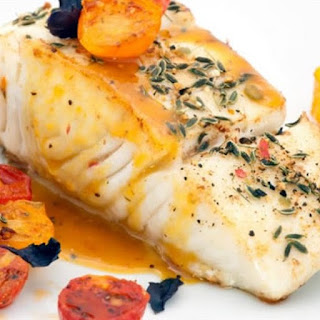 Oven Baked Sea Bass with Fennel and Tomatoes.