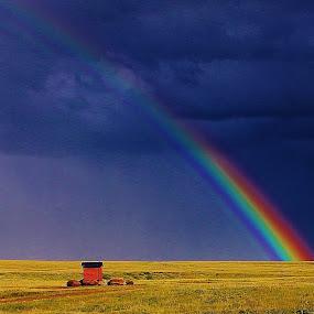 Prairie Pot of Gold by Laura Bentley - Landscapes Prairies, Meadows & Fields ( colorful, summer, vibrant, storm, prairie, rainbow )