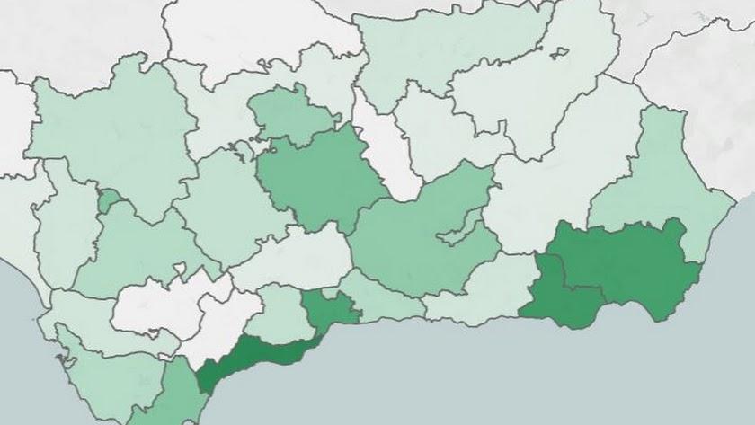 Mapa de incidencia en las provincias de Andalucía, imagen de archivo.