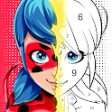 Miraculous Ladybug & Cat Noir. Color by number icon