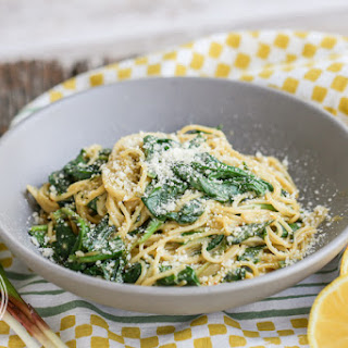 Ramp and Anchovy Carbonara Pasta {Gluten-Free}