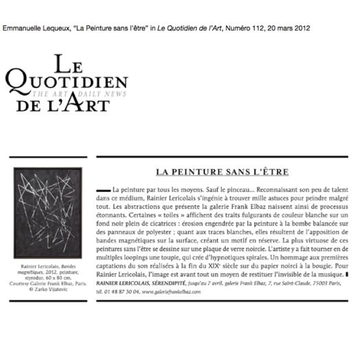 Rainier Lericolais, la peinture sans l'être, quotidien de l'art, 2012
