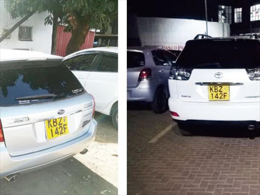 Left: Subaru KBZ 142F. Right; A Toyota Harrier which has identicar number plate to that of the Subar. /COURTESY