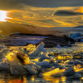 Fire and Ice by Steve Rogers - Landscapes Sunsets & Sunrises ( glacier, iceland, lagoon, fjallsárlón, hdr, sunset, sunrise, avalon-art.com, glacier lagoon, fjallsárlón glacier lagoon )