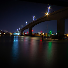 by Bradley Foot - Buildings & Architecture Bridges & Suspended Structures ( nighttime, reflections, night, bridge, river, water, canon,  )