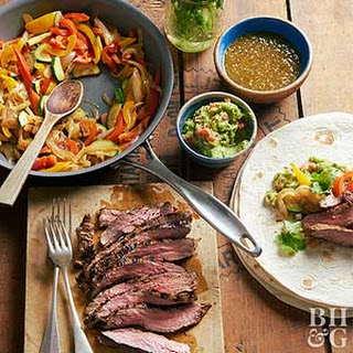 Flank Steak Fajita Burritos.