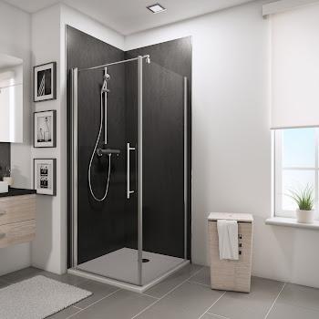Porte de douche pivotante avec paroi latérale, 80 et 80 cm ou 90 et 90 cm