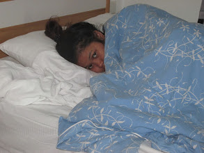 Photo: Hoong emulating a Hermit crab under her shell-like Doona