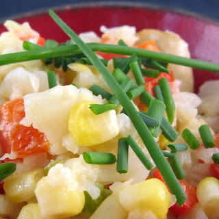 Smashed Cauliflower with Corn, Mushrooms & Red Pepper