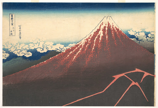 冨嶽三十六景 山下白雨|Storm below Mount Fuji (Sanka no haku u), from the series Thirty-six Views of Mount Fuji (Fugaku sanjūrokkei)