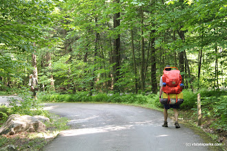 Photo: Hiker beginning his hike at Gifford Woods State Park by Isadora Marks