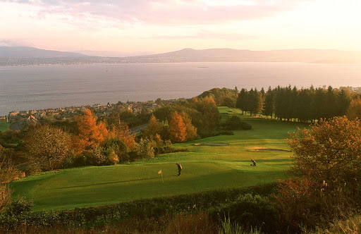 The Gourock Golf Course in Greenock, Scotland, with the Firth of Clyde beyond.