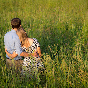 Together by John  Pemberton - People Couples ( love, pasture, couple, romance, hayfield )