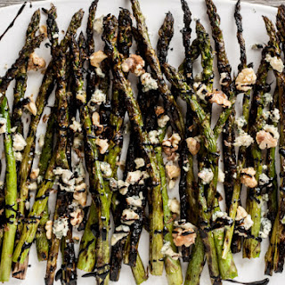 Grilled Asparagus with Blue Cheese, Walnuts & Balsamic Reduction