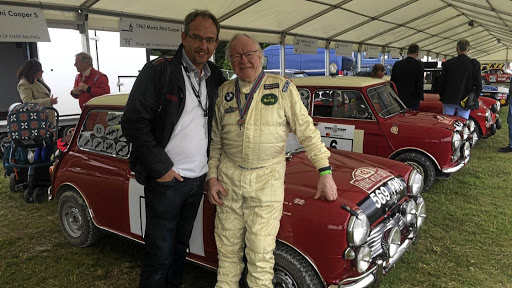Famous 1960s Mini rally driver Rauno Aaltonen with the Motor News ed.