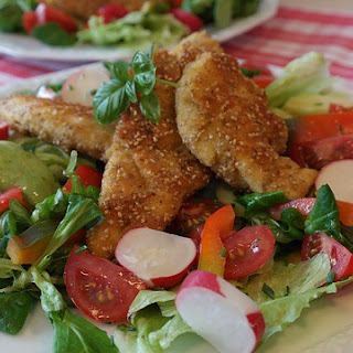 Salad with Crispy Chicken Fingers