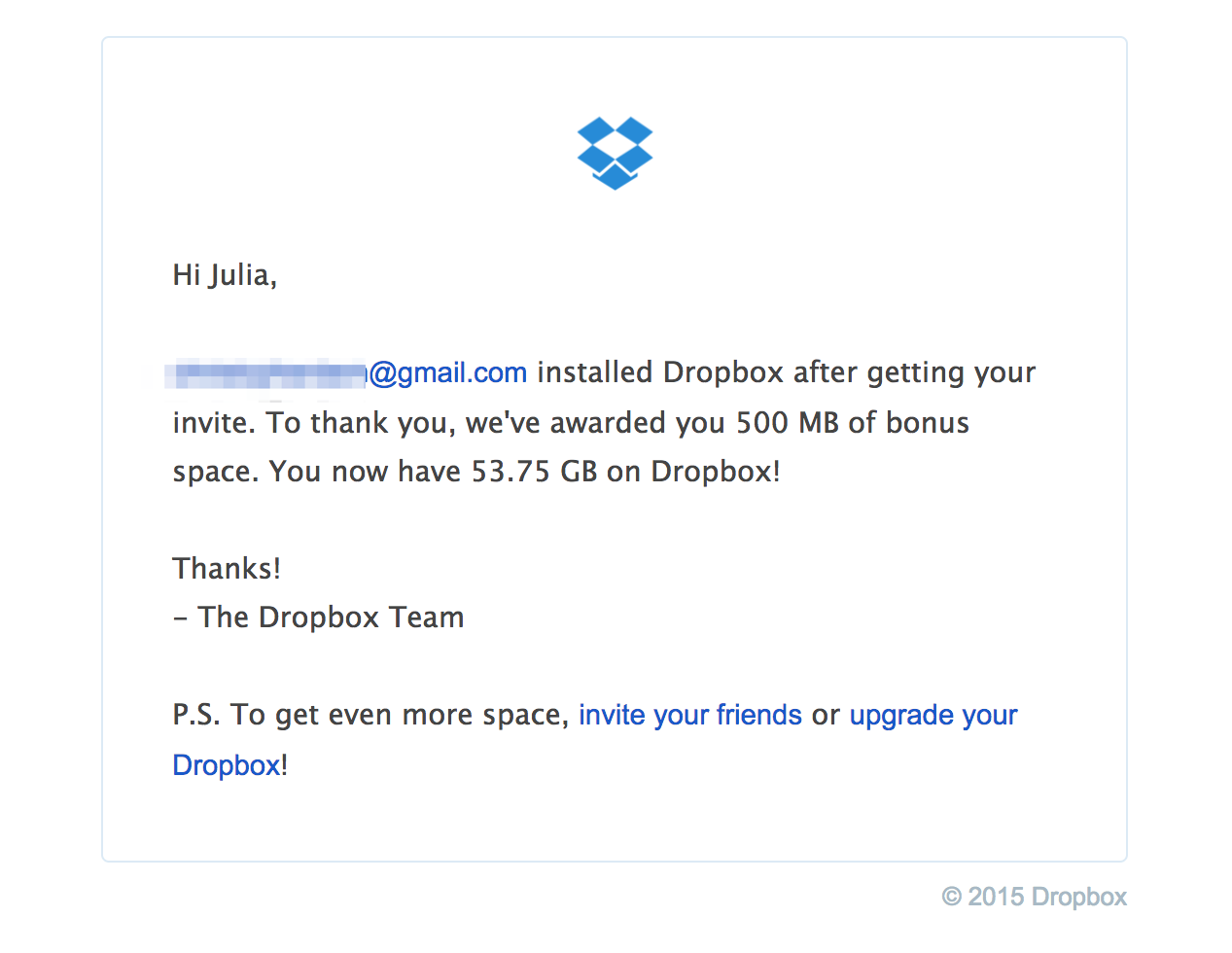 DropBox referral thank you email design