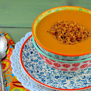 Chilled Vegan Israeli Carrot Soup With Chewy Quinoa Topping