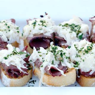 Pastrami Sauerkraut Crostini.