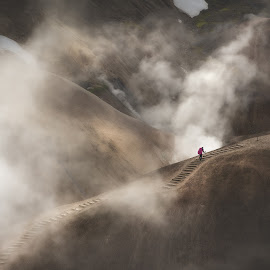 Up in smoke by Kaspars Dzenis - Landscapes Mountains & Hills ( mountains, highlands, beauty, nature, geothermal, smoke, hills, iceland, dzenis photo, travel. steam, travel, landscape )