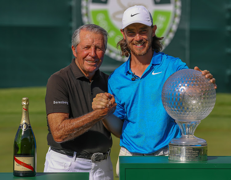 Tommy Fleetwood (R) of England with Gary Player (R) on November 17 2019.