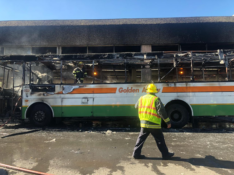 Arson is not suspected and no one was injured when a bus went up in flames in central Cape Town on April 25 2019.