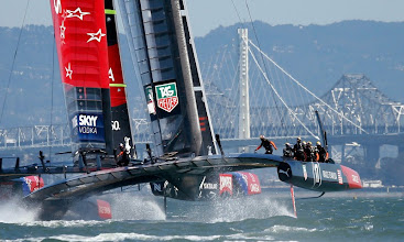 Photo: Oracle Team USA chases Emirates Team New Zealand towards the Bay Bridge in Race 11 of the America's Cup Finals, America's Cup Finals, Wednesday, Sept. 18, 2013, in San Francisco, Calif. (Karl Mondon/Bay Area News Group)