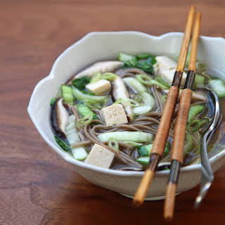 Miso Soup With Shiitakes, Bok Choy, and Soba.