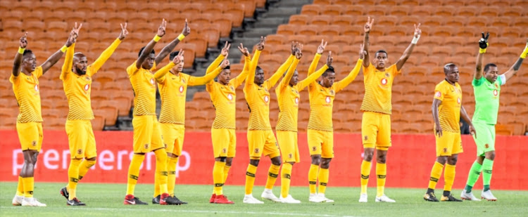 Kaizer Chiefs players during the Absa Premiership match between Kaizer Chiefs and Black Leopards at FNB Stadium on November 07, 2018 in Johannesburg, South Africa.