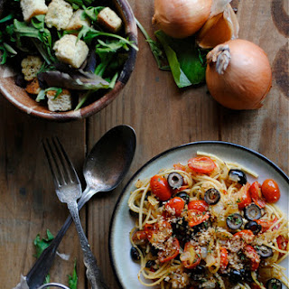 Tomato and Olive Pasta.