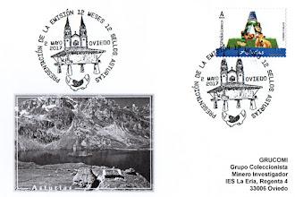 Photo: Tarjeta con el sello de Asturias de la serie 12 sellos, 12 meses, 12 provincias y su matasellos de presentación