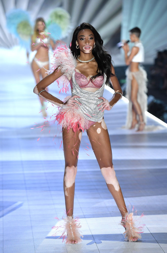Winnie Harlow walks the runway during the 2018 Victoria's Secret Fashion Show on November 8 in New York City.