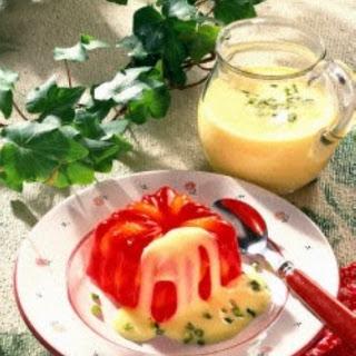 Götterspeise mit Mandarinen und Vanille-Soße
