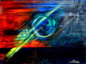 Photo: 019 BEAM OF PROPHECY - CRIMEA 2013 ~ ПРОМІНЬ-ПЕРЕВІСНИК - КРИМ 2013 Luba Bilash original mixed media canvas $90