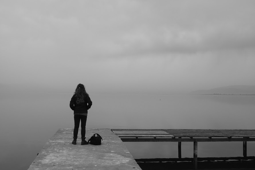 jetty, sea, black-and-white