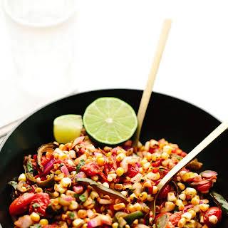 Fire-Roasted Corn, Poblano + Tomato Summer Salad.