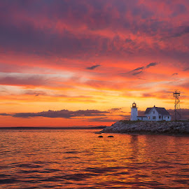 Wings Neck Lighthouse at Sunset 5474 by Carl Albro - Landscapes Waterscapes ( seascape, lighthouse, sunset, landscape )