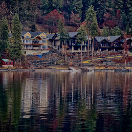 Life Is Good by Barbara Brock - Buildings & Architecture Other Exteriors ( lakeside, lakeshore, lake living, luxury living, water reflections, house, mansion, home, lake coeur d'alene )