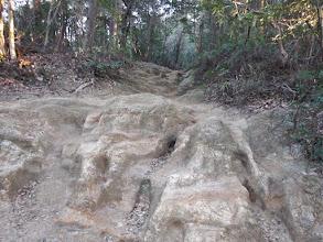岩が足跡で削れ